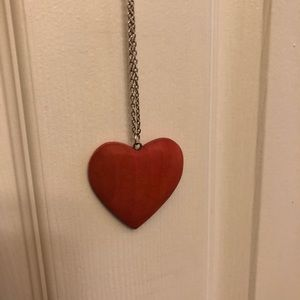 Wooden Red Heart Pendant on Long Chain